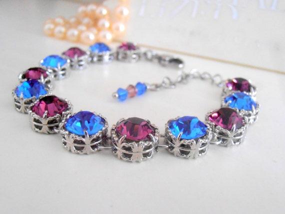 Swarovski Bracelet, Amethyst Sapphire Crystals, Filigree Cupchain Bracelet, Tennis Bracelet, Birthstone Platinum with Surgical Steel