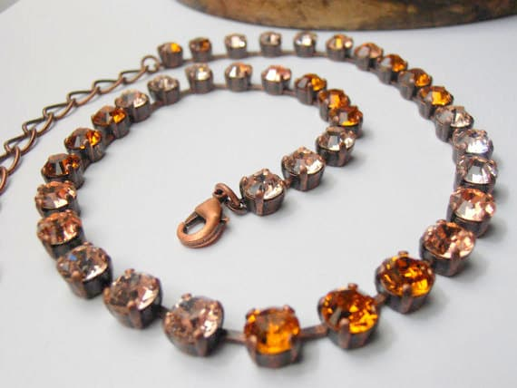Swarovski Crystal Necklace, 6mm Copper Multicolors,Vintage style, Cupchain Necklace, Antique Copper setting, Tennis Necklace