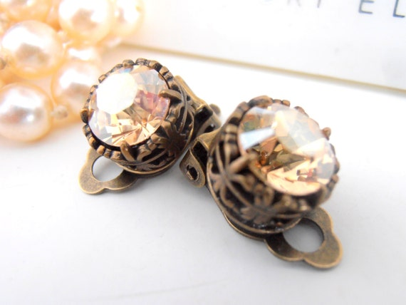 Clip On Earrings, Swarovski Clip On, Studs, Non Pierced for girls, Art Deco, Golden Shadow, Antique Bronze, Post, Filigree, Vintage Jewelry