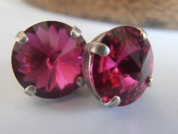 Fuchsia Rivoli Earrings w/ Swarovski Crystals 12mm 1122 / Antique Silver Jewelry