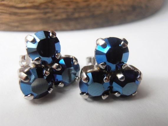 Dainty Swarovski Studs /Flower Crystal Post Earrings / Blue Metallic Earring / Gift for her / Platinum Plated Earrings / Costume Jewelry