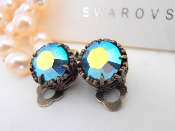 Clip On Earrings, Swarovski Clip On, Studs, Non Pierced for girls, Art Deco, Blue Zircon AB, Antique Bronze, Post, Filigree, Vintage Jewelry
