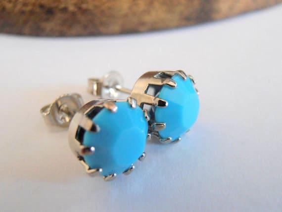 Turquoise Blue Stud Earrings w/ Swarovski Crystal Chatons