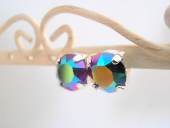 Swarovski Earrings, Scarabaeus Green Studs, Crystal, Post Earring, Fashion, Silver Plated Setting by parisijewelrydesigns