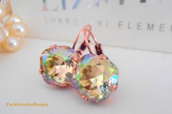 Luminous Green Crystal Earrings /  4470 Cushion Cut Leverbacks