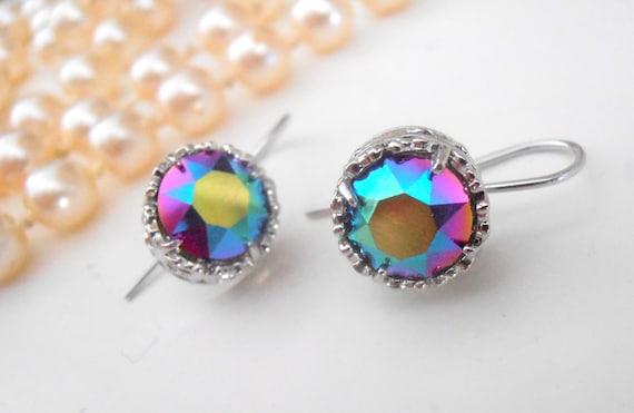 Scarabaeus Green, Art Deco Earrings, Swarovski Earrings, Bridal, Wedding, Bridesmaid Drops, Dangle, Crystal, Platinum Filigree Setting