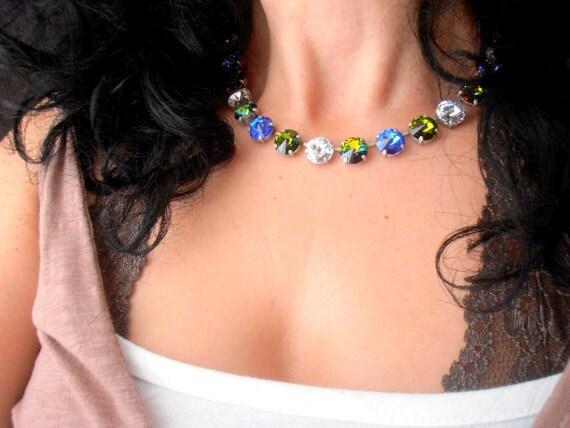 Olivine Sapphire Swarovski Necklace / Rivoli Crystal Choker