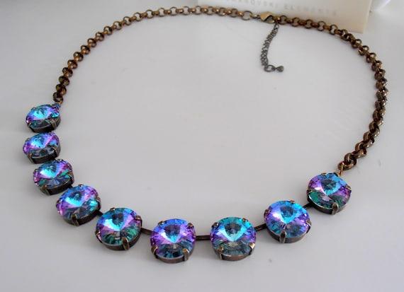 Light Virtail Bronze Rivoli Necklace w/ Swarovski Crystal • Anna Wintour