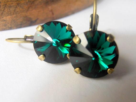 Erinite Green, Swarovski Earrings, Crystal, 12mm, Rivoli setting, Antique Brass, Dangle Earrings, Drop Vienna Earrings Christmas Gift