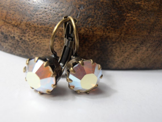White Opal AB, 8mm, Swarovski crystal, Antique brass, prong setting, Dangle, Drop, leverback earrings, costume jewelry