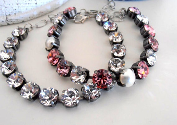 Swarovski Bracelet / Multicolors Rose Bracelets / Tennis Crystal Bracelet /  Cupchain / Vintage Shabby Chic style / Gift for her