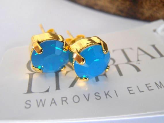 Caribbean Blue Opal 8mm Swarovski crystal chatons,golden stud earrings,post earrings