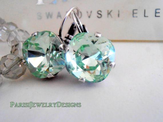 Swarovski Earrings / Cushion Cut Earrings / 12mm Drop Earrings / Chrysolite Crystals / Leverback Dangle Square Cut / Gift for her