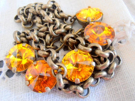 Swarovski Necklace/ Rivoli Choker / Tennis / Sunflower Crystals/ Anna Wintour / Cupchain / Thick Rolo Chain in Antique Bronze