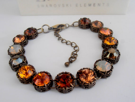 Brown Multi-colors filigree Bracelet w/ Swarovski Crystals