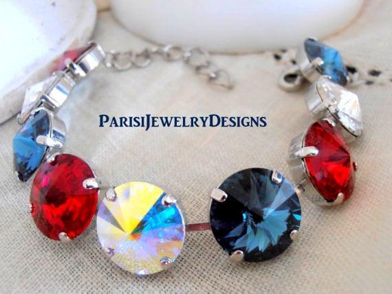 4th of July Swarovski Crystal Bracelet / Rivoli Tennis Cupchain / USA Flag Bracelet / Patriotic Bracelet / Silver Plated / Anna Wintour