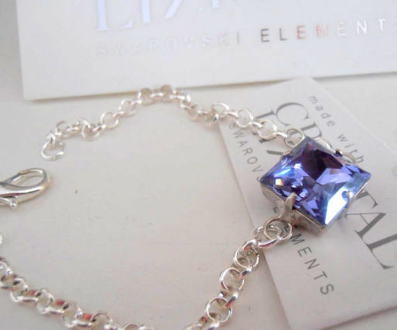 Tanzanite Blue Swarovski Bracelet / Dainty /  Bridesmaid Delicate Chain Bracelet / Crystal Princess Square Cut  / 12mm Square Cut Bracelet