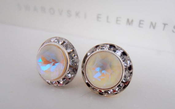 Light Grey Delite Halo Swarovski Earrings / Statement Jewelry / Birthday Girls Gift