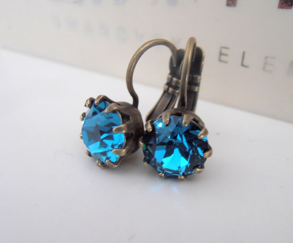 Crown Swarovski Crystal Drop & Dangle Earrings / Antique Bronze Jewelry