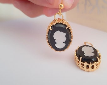 Black Cameo Crystal Drop Earrings / Victorian Czech Intaglio 3D / Art Deco Jewelry / Oval Filigree / Vintage Reproduction / Anniversary Gift