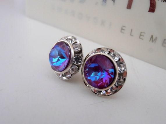 Crystal Burgundy DeLite Stud Earrings w/ Swarovski Crystals / Rhinestone Bridal Jewelry