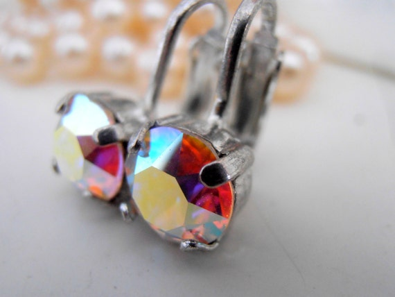 Clip on Earrings / Swarovski Crystal Earring Clips /  Non pierced Aurora Borealis Clip Earrings for girls / Wedding / Bridal Studs