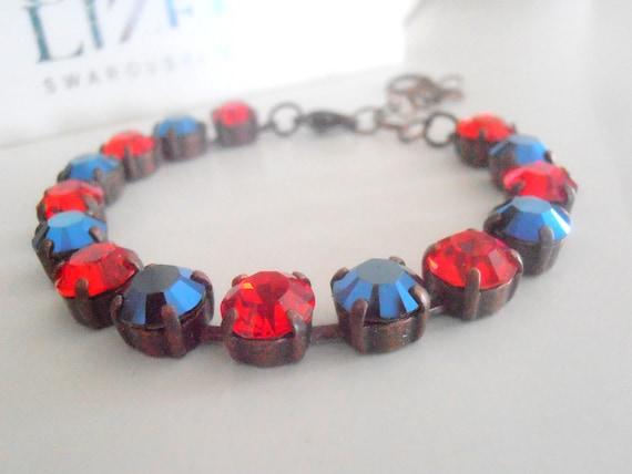 Swarovski Bracelet / Cupchain Tennis Bracelet / Vintage Antique Copper / Shabby Chic / Fashion Jewelry / SS39 Chatons Bracelet