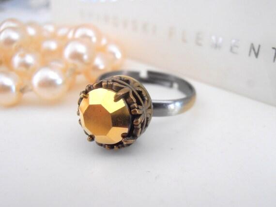 Swarovski Ring, Vintage Gold Metallic Crystal, Stackable Ring, Art Deco, Statement, Adjustable, Wedding, Antique Bronze Filigree Setting