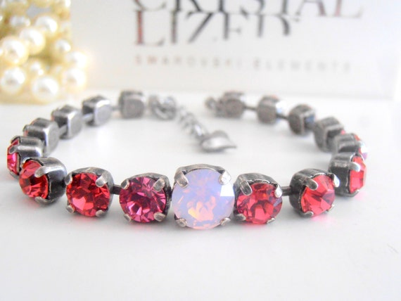 Rose Water Opal tennis bracelet made with Swarovski crystal chatons
