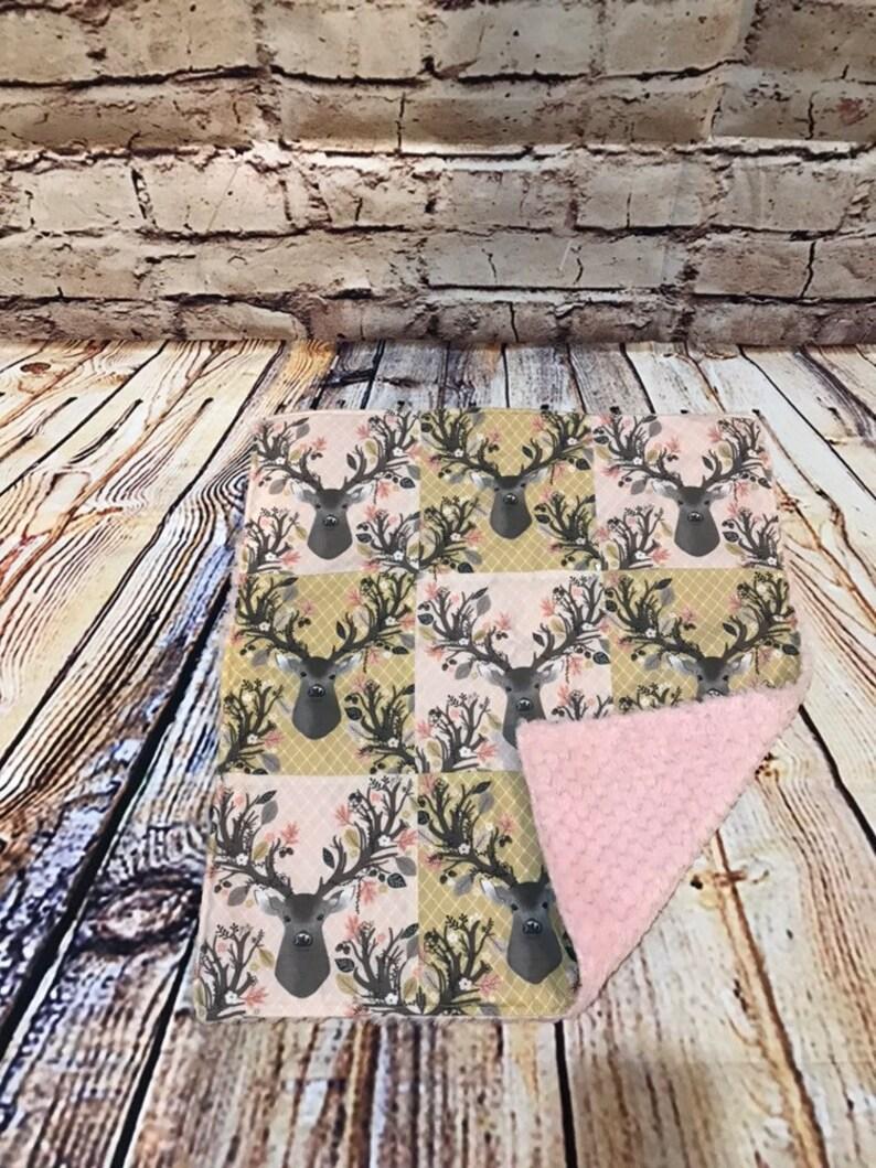 Car Seat Blanket Baby Shower OOAK Deer Lovey Snuggle Blanket Woodland Gift Minky Pink Baby Blanket Doe