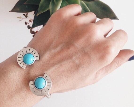 Sterling silver bracelet, silver cuff bracelet,turquoise bracelet,turquoise cuff,silver 925 bracelet,Aztec's bracelet,geometric bracelet