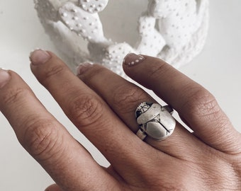 Sterling Silver ring,scarab ring,men's ring,scarab beetle ring,hieroglyphics ring,boho ring,Egyptian scarab ring,alchemist ring,solid silver