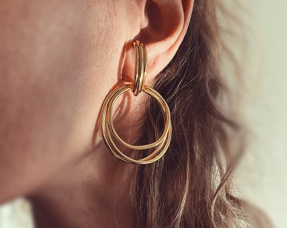 Gold ear cuffs,gold hoops earrings,Sterling silver earrings,gold suspender earrings,edgy earrings,contemporary earrings,gold plated