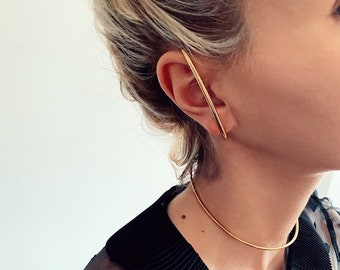 Ear cuff,gold ear cuff,bar ear cuff,sterling silver ear cuff,good earrings,gold suspender earring,simple earrings,gold bar earrings,gold