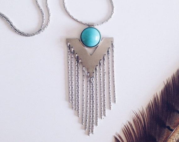 Fringe necklace,Chevron necklace,Phoenix necklace,Geometric necklace,Festival necklace,Boho necklace,Turquoise necklace,Arrow necklace