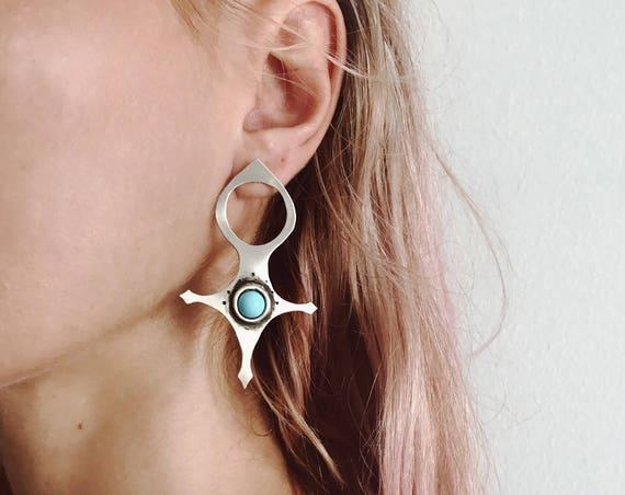 boho earrings,gypsy earrings,statement earrings,turquoise earrings,silver earrings,big earrings,Tuareg's earrings,moroccan cross earrings,