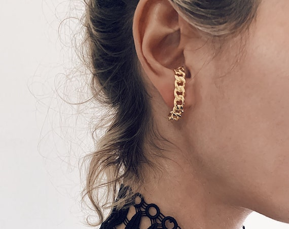 Gold ear cuff,gold chain earrings,sterling silver ear cuff,gold suspender earring,chain ear Cuffs,gold link Earrings,gold statement earrings