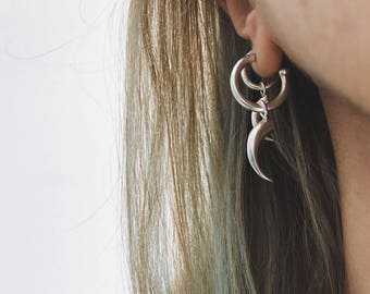 Layered earrings,hoops earrings,sterling silver earrings,edgy earrings,tooth earrings,dragon earrings,moon jewelry,studs hoops,drop earrings