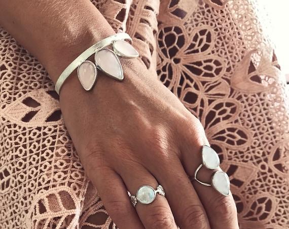 Rose quartz bracelet,sterling silver bracelet,rose quartz,silver cuff bracelet,boho bracelet,rose crystal bracelet,rose bracelet
