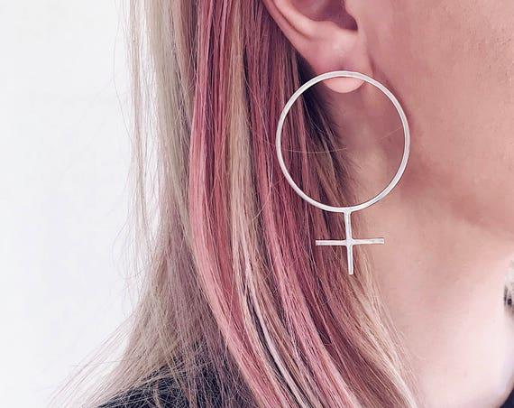 Big round earrings,big silver earrings,female symbol earrings,venus earring,feminist earrings,edgy earrings,stud earrings,minimalistic