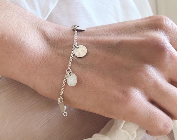 Silver coin boho bracelet