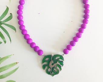 Monstera Leaf necklace,Monkey necklace,Tropical necklace,Statement necklace,Fashion necklace,Colourful necklace,Animal necklace,Jungle neckl