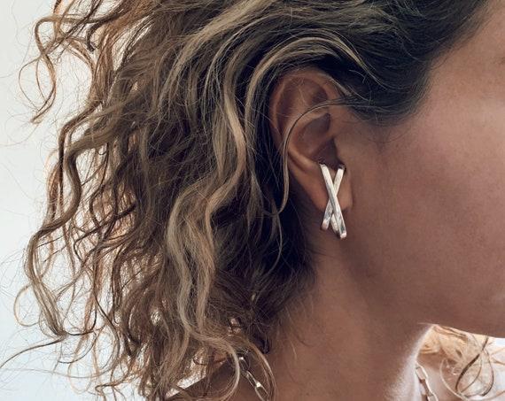 Sterling silver earring,ear cuff,studs earring,earrings,edgy earrings,contemporary earrings,cross earring,suspender earrings