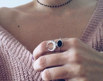 Dainty ring,Sterling silver ring,stacking ring,simple ring,black onyx ring,minimalistic ring,silver 925,black ring,gift for her,oval ring