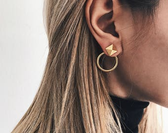 Gold ear jackets,gold hoops,gold pyramid ear jackets,gold pyramid studs,gold pyramid earrings,sterling silver gold plated earrings,gigi