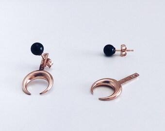 Moon earrings,rose gold ear jacket,sterling silver earrings,black onyx earrings,rose gold moon earrings,rose gold earrings,Taurus earrings