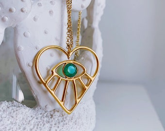 gold pendant,heart pendant,eye necklace,green stone necklace,green gemstone pendant,gold plated necklace,gold heart necklace,gold eye neckla