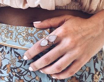 Rose quartz ring,sterling silver ring,pink quartz ring,drop ring,big ring,drop shape crystal ring,drop rose quartz ring,boho rings