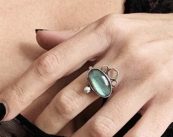 Labradorite ring,sterling silver ring,blue  labradorite ring,gemstone ring,Spectrolite ring,green ring,one of the kind ring,green labradorit