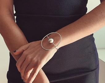 Cuff bracelet,Sterling silver bracelet,open cuff bracelet,minimal bangle,contemporary bracelet,statement bracelet,ball bracelet,geometric